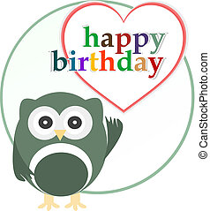 vector happy birthday party card with cute owl