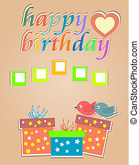 vector happy birthday cards with cute birds and gift box