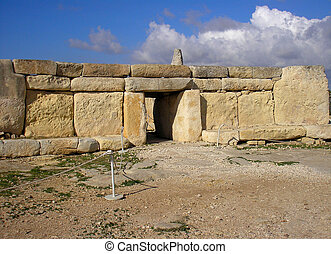 Worshipers - The entrance to the megalithic temple of Hagar...