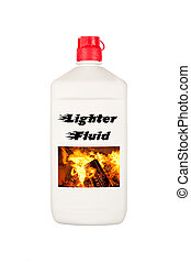 Charcoal lighter fluid - A container of charcoal lighter...