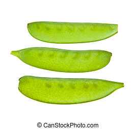 Mange Tout Snow peas pods isolated on a white background