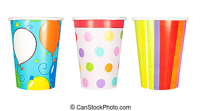 Party cups - A set of disposable, paper party cups for...