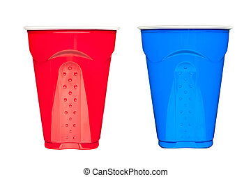 Plastic drinking cups - Red and blue plastic, disposable...