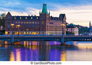 Scenic evening panorama of Stockholm, Sweden - Scenic...