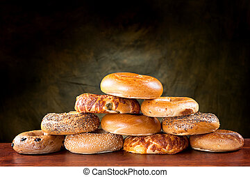 Bagel pyramid - An assortment of flavored, seasoned...
