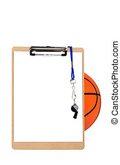 Clipboard and basketball - A coachs clipboard with blank...