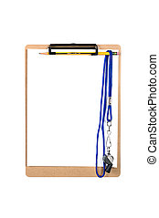 Clipboard and whistle - A clipboard with a clean, blank...