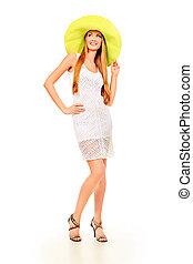 sun light - Beautiful young woman in light summer dress...