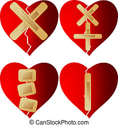 patched heart plaster sticking symbol