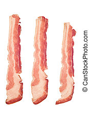 Raw bacon - Three strips of raw bacon isolated on a white...