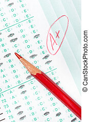 Graded test form - A graded test form with red scoring...