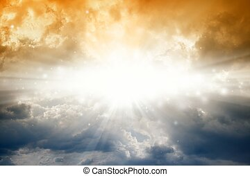 Bright sun in dark sky - Beautiful background - bright sun...