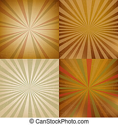 Vintage Sunburst Backgrounds Set