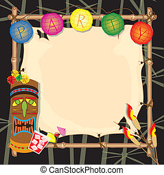 Tropical retro tiki or luau party invitation with copy space