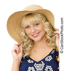 Summer holidays - beautiful young woman with straw hat