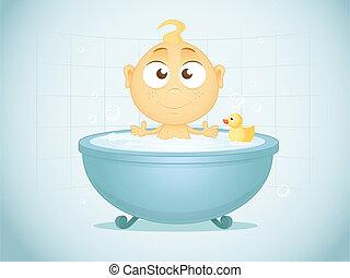 Bath Time - Illustration of baby in bathtub.