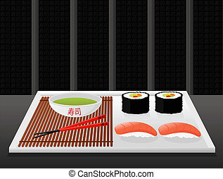 Sushi - Illustration of sushi dish with chopsticks and...