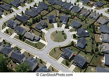 Cul-de-sac Aerial Suburb - Suburban culdesac homes aerial in...