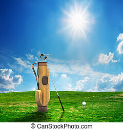 Golf equipment and ball on golf course. Sunny landscape. 3d...