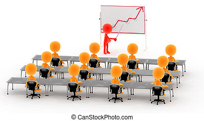 Gold 3d men on a lecture, business meeting etc. - Gold 3d...