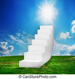 White stairs on the field. Way to success, way to heaven...