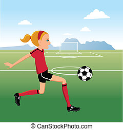Cartoon Girl Soccer Player - Illustration of a cartoon girl...