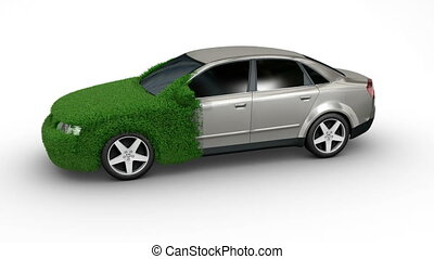 car grass grow - Eco car made of grass with matte