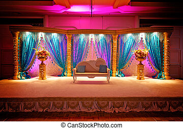Indian Wedding Mandap - Image of a very colorful Indian...