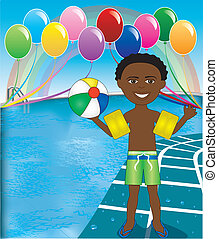 Pool Ball Boy - Vector Illustration of Ball Boy at pool...