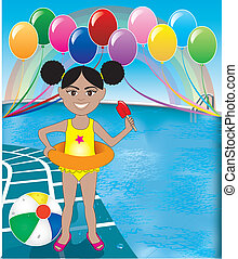 Pool Popsicle Girl - Vector Illustration of Popsicle Girl at...