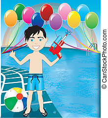 Pool Watergun Boy - Vector Illustration of watergun boy at...