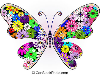 Vivid fantasy floral butterfly
