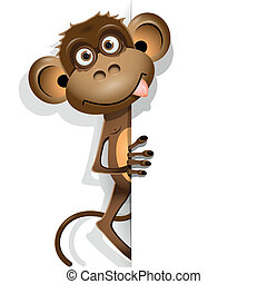monkey - illustration, a brown monkey on a white background