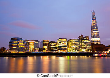 London City Hall Skylines along River Thames at Dusk,...