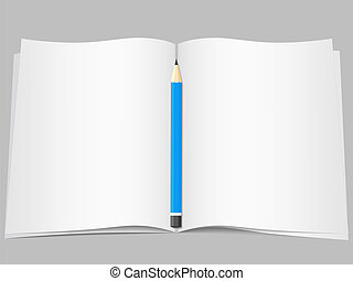Blank open pages with pencil