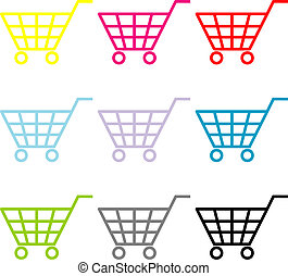 Buy Now - Multi-coloured consumer's baskets in the varios...