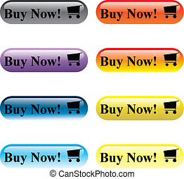 Buy Now - Multi-coloured buttons Buy Now of various colours