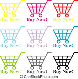 Buy Now - Multi-coloured baskets with the text - buy now!