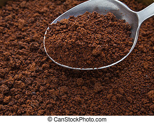 Coffee instant - Spoon of coffee at coffee background