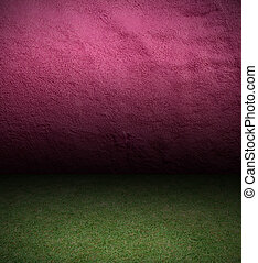 Wall cement and grass background