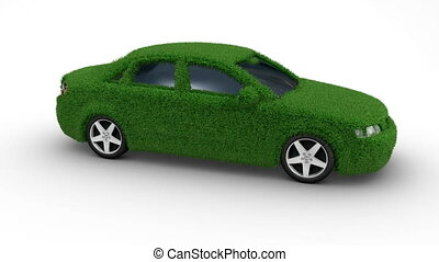 car grass loop - Eco car made of grass looping with matte
