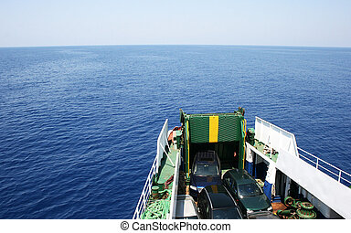 Ferry boat - View to Mediterranean sea from ferry boat.