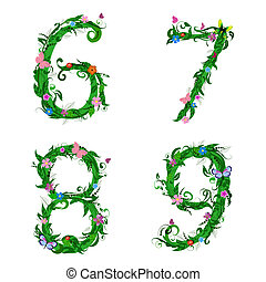 font numbers foliage insect