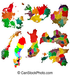 Northern Europe on a white background