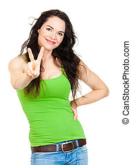Beautiful woman doing peace sign - A beautiful young...