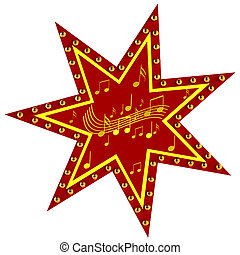 Red Star with notes on a white background