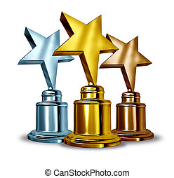 Star Award Trophies - Gold silver and bronze star trophies...