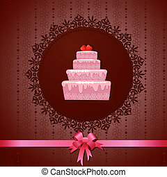 Celebratory cake on a vintage background