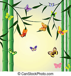 Oriental bamboo pattern with butterflies