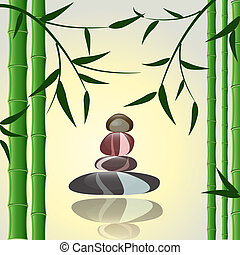 design background bamboo with stones for a spa